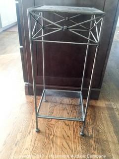 Iron Rimmed Glass Plant Stand End Table