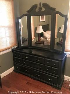 Black Dresser 8 Drawers with Tri-Fold Mirror