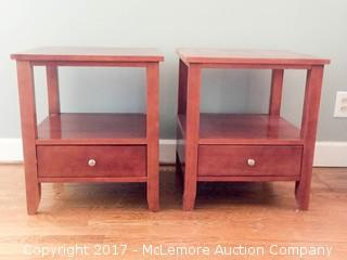 Matching Brown Wood Side Tables