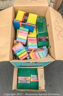 Two Boxes of Scouring Pads and Sponges With Scouring Pads