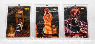 Three Classic Brand 1994 Basketball Cards Of Glenn Robinson Grant Hill And Jason Kidd All Framed In Lucite