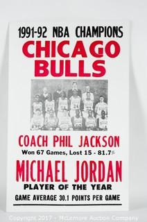 Cardboard Poster Reading 1991-92 NBA Champions Chicago Bulls