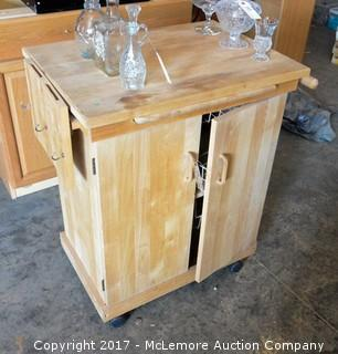 Rolling Kitchen Island with Knife Storage and Cabinet Storage