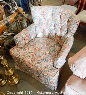 Upholstered Arm Chair with Floral Pattern