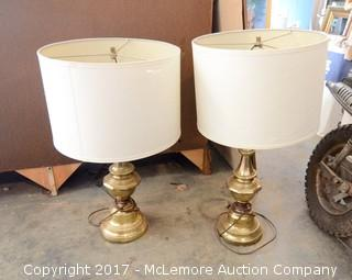 2 Matching Brass Lamps with Shades