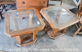 2 Matching End Tables with Glass Tops
