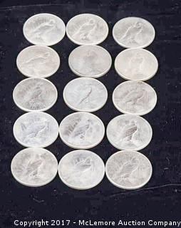 15 - 1920's Peace Silver Dollars