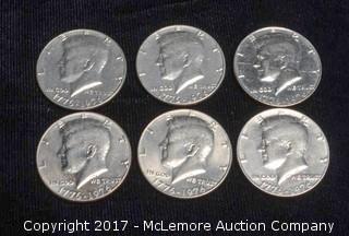 6 - 1971 Kennedy Silver Half Dollars