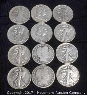 12 - 1800's and 1900's Silver Half Dollars.