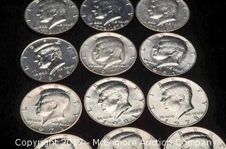 12 - Kennedy Half Dollars
