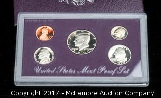 1990 US Mint Proof Coin Set with Case and COA