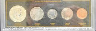 5 Coin Collectors Set of Franklin Half, Barber Quarter, Barber Dime, Liberty Nickel and Indian Head Penny