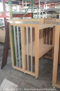 Pair of Wood Rolling Store Merchandise Display Racks with Two Drawer Podium