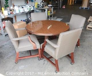Round Conference Table with 4 Upholstered Rolling Chairs