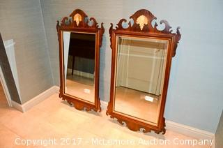 Matching Pair of Queen Ann Style Mahogany Frame Mirrors