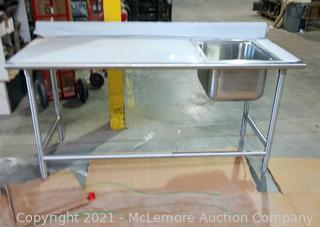"""Advance Tabco 30"""" x 72"""" KMS-11B-306R Work Table with Right Prep Sink"""