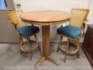 Whitaker Furniture Co. Pub Height Wooden Table with (2) Matching Wooden and Upholstered Swivel Pub-Height Chairs