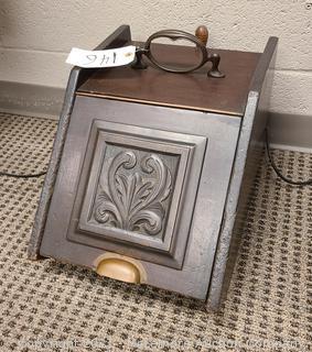 Antique Mahogany Coal Box with Coal Shovel
