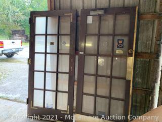 """Set of Antique Solid 15 Lite Doors 36""""x80"""""""