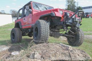 1990 Red Jeep Wrangler with Custom 6.0 LS Motor VIN 2J4FY19E8LJ552954