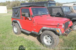 2000 Red Jeep Wrangler S 4WD 4.0L V6 VIN 1J4FA9S3YP759306 - BILL OF SALE ONLY