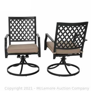 SET OF 2! - Leigh Swivel Patio Dining Armchair with Cushion�(Set of 2) - by Rred Barrel Studio - 35'' H x 22'' W x 25'' D each chair - New - SEE LINK - $295.99