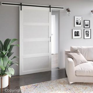 White Abhishek Paneled 42� Wood Barn Door with Installation Hardware Kit by Gracie Oaks - NEW - $264.99 - SEE LINK