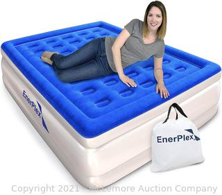 EnerPlex Queen Air Mattress for Camping. Home & Travel -  Inflatable Bed w/ Built-in Dual Pump