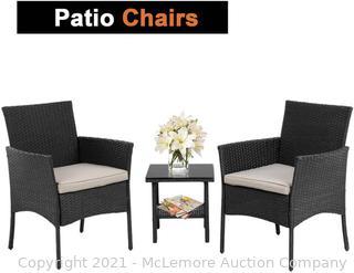 FDW Wicker Patio Furniture 3 Piece Patio Set Chairs Bistro Set Outdoor Rattan Conversation Set for Backyard Porch Poolside Lawn.Black