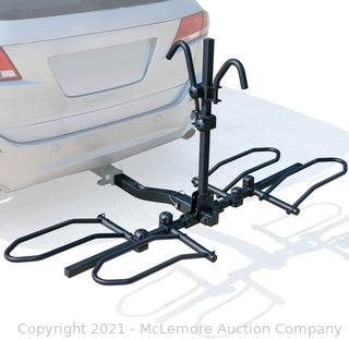 """Leader Accessories 2-Bike Platform Style Hitch Mount Bike Rack. Tray Style Bicycle Carrier Racks for Cars. Trucks. SUV and Minivans with 2"""" Hitch Receiver - Quick Hitch Pins Design. Un-Foldable. Parts Unverified"""