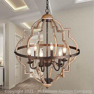 TZOE Orb 6-Light Chandelier?Rustic Vintage Metal Chandelier?Stardust Finish?Foyer Chandelier?Adjustable Height?Dining Light?Living Room Lighting?Kitchen Chandelier UL Listed