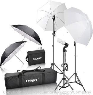 EMART 600W Photography Photo Video Portrait Studio Day Light Umbrella Continuous Lighting Kit. Parts Unverified