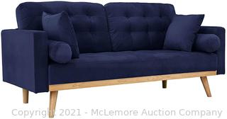 Casa Andrea Milano llc Mid Century Modern Tufted Upholstered Fabric Sofa Couch.  Navy Velvet
