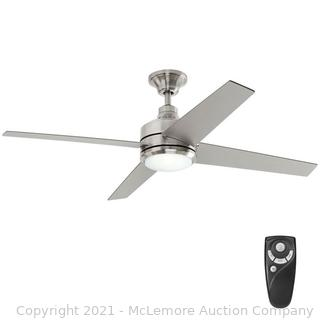 Home Decorators Collection Mercer 52 in. LED Indoor Brushed Nickel Ceiling Fan with Light Kit and Remote Control