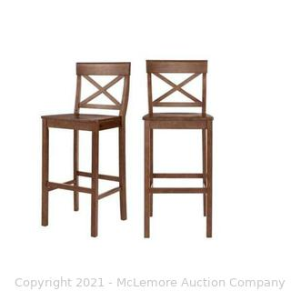 StyleWell Cedarville Walnut Finish Counter Stool with Cross Back (Set of 2)