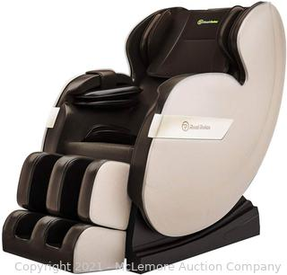 Real Relax Massage Chair.  Full Body Zero Gravity Shiatsu Massage Recliner with Bluetooth Heat Foot Roller.  FAVOR-03 Plus(Brown and Khaki)