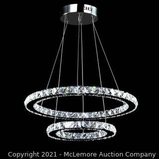 MEEROSEE Crystal Chandeliers Modern LED Ceiling Lights Fixtures Pendant Lighting Dining Room Chandelier Contemporary Adjustable Stainless Steel Cable 2 Rings DIY Design