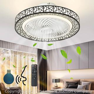 """IYUNXI Enclosed Ceiling Fan with Remote Smart 20"""" Flush Mount Ceiling Fan Indoor with Lights Dimmable 3-color 7 Blades Low Profile Modern 3-Speed Timing Quiet Kids Bedroom Kitchen (Voice Control)"""