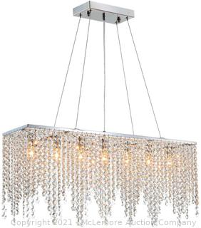 Rectangle Crystal Chandelier Modern Chrome Chandeliers Contemporary Raindrop Hanging Lighting Fixture for Dining Room Kitchen Island 31.5 Inch