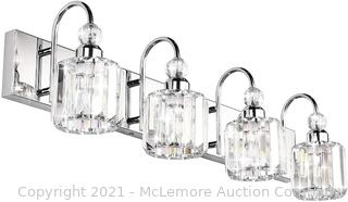 Ralbay Modern LED Crystal Bathroom Vanity Lights Stainless Steel Crystal Vanity Lights Over Mirror Modern Crystal Bathroom Vanity Lighting Fixtures