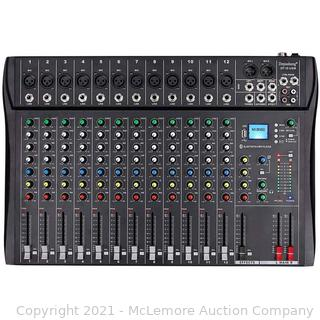 Depusheng DT12 Professional Studio Audio Mixer 12-Channel DJ Interface USB Drive Bluetooth for Computer Recording Stage Karaoke
