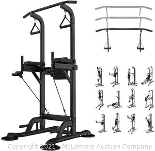 Leasbar Power Tower Dip Bar Station Pull Up Bar Stand for Home Gym Adjustable Strength Training Fitness Equipment 330 LBS with Backrest Parts Unverified