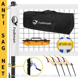 Fediman Heavy Duty Volleyball Net Outdoor with Steel Anti-Sag System. Adjustable Aluminum Poles. Volleyball and Carrying Bag. Professional Volleyball Nets Set for Backyard