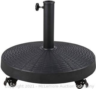 50 LBS Patio Umbrella Stand. 20.5 Inch Round Umbrella Base with 4 Lockable Wheels. Heavy-Duty Outdoor Umbrella Holder. Suitable for Pool. Yard. Garden. Street. Market. Rattan Design. Black