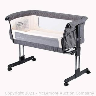 Mika Micky Bedside Sleeper Bedside Crib Easy Folding Portable Crib.Grey