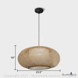 Globe Pendant Hanging Lamp with Rattan Shade Nordic Style 1 Head Suspended Light in Beige