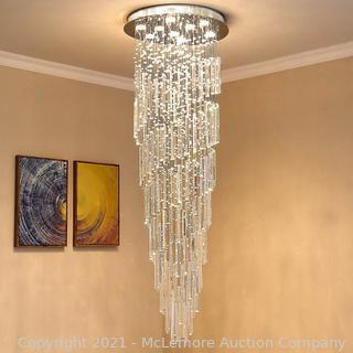 "Saint Mossi 9-Lights K9 Crystal Chandelier Raindrop Chandelier Light Fixture.Large Chandelier Modern Chandelier Lamp.Modern Pendant Light Flush Mount Ceiling Light Fixture.H71"" x D24"""