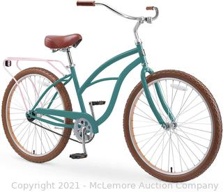 "sixthreezero Around The Block Women's 26"" Single Speed New Beach Cruiser Bicycle with Rear Rack. Pine Melon. One Size"