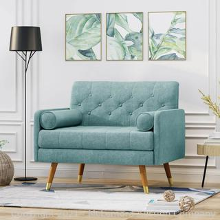 Noblehousehomefurnishings Mid Century Modern Button Tufted Fabric Club Chair W/ Rolled Accent Pillows - NH248503