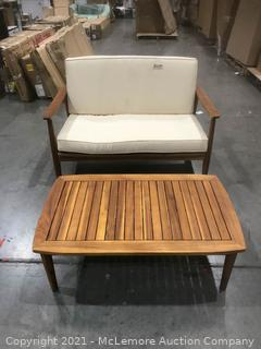 """Small Sofa Unkown Brand 38.5""""x27.5"""" With table"""
